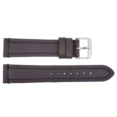 Euro Collection Rhein Fils Switzerland Brown Heavy Stitched Leather Watch Strap