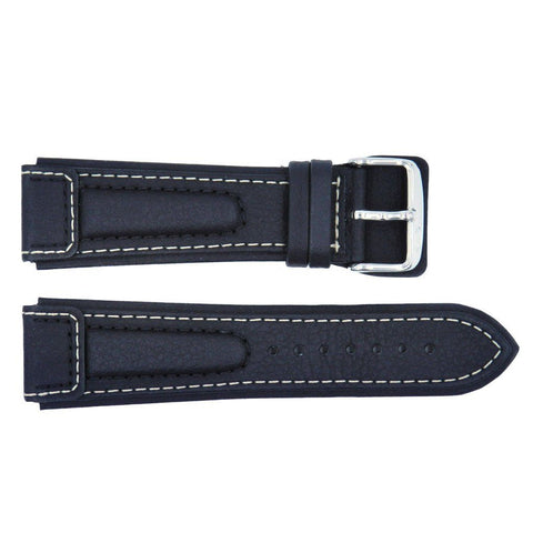 Euro Collection Lorica Black Waterproof Leather Watch Strap