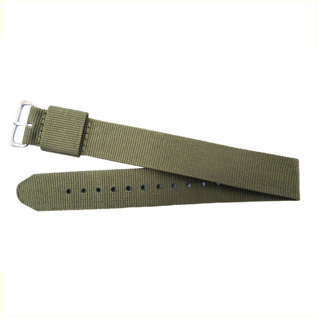 Euro Collection Olive Slip Thru One Piece Nylon 18mm Watch Strap
