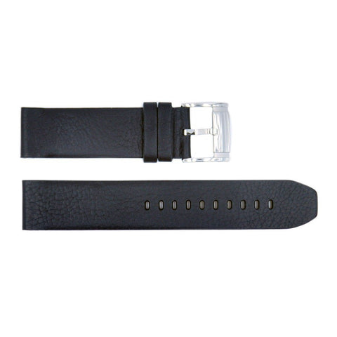 Genuine Fossil Black Smooth Leather 22mm Watch Strap