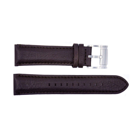 Genuine Fossil Dark Brown Smooth Leather 20mm Watch Strap