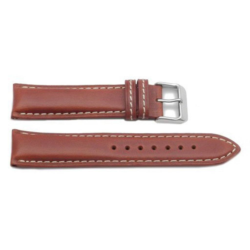 ad80f53fd ... Genuine Oil-Tanned Leather Heavy Padded White Contrasting Stitching Watch  Band