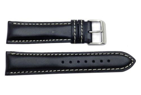Genuine Oil-Tanned Leather Heavy Padded White Contrasting Stitching Watch Band