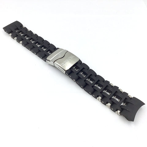 Invicta 10250 Black Polyurethane Stainless Steel Watch Bracelet