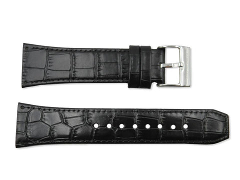 Kenneth Cole Genuine Textured Leather Black Crocodile Grain 24mm Watch Band