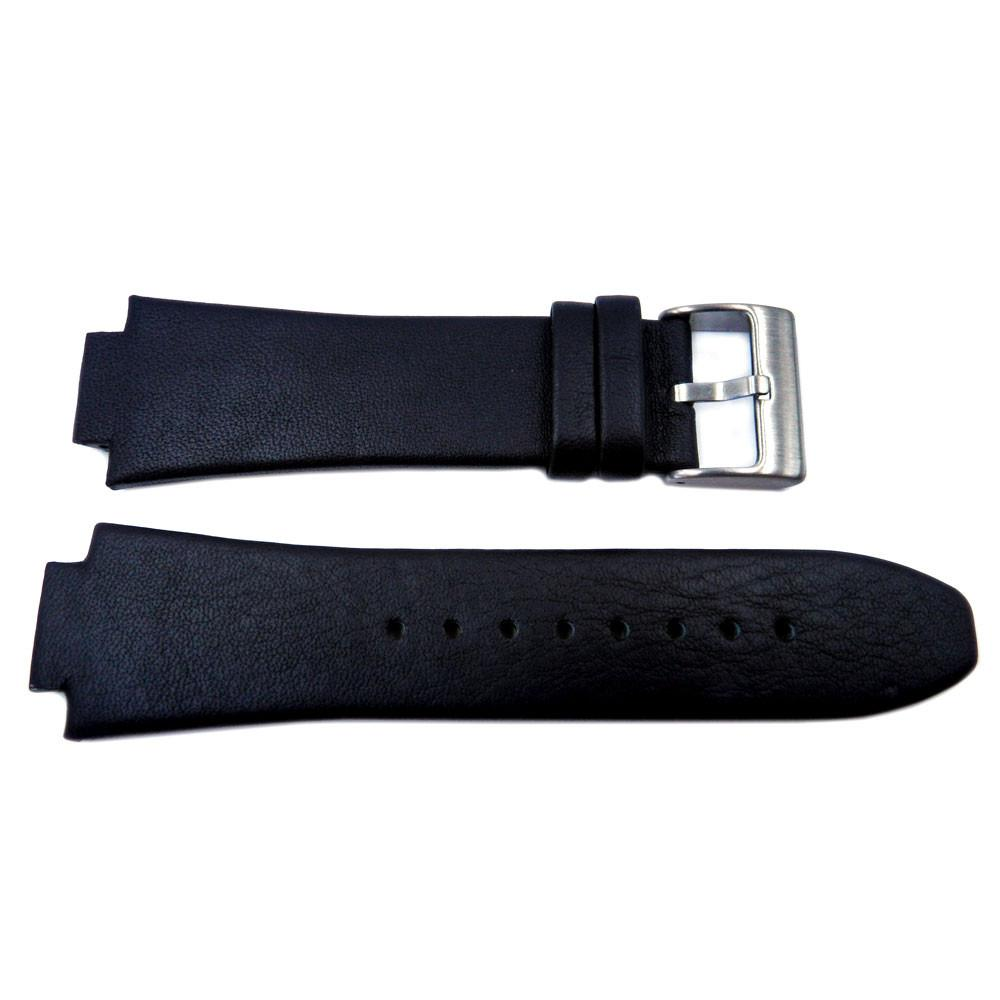 Kenneth Cole Genuine Smooth Black Leather 28mm/16mm Watch Band