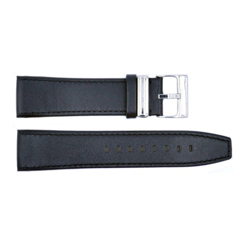Genuine Kenneth Cole Smooth Black Leather 24mm Watch Strap