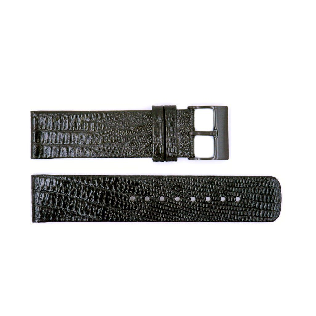 Genuine Kenneth Cole Textured Leather Black Alligator Grain 22mm Watch Strap