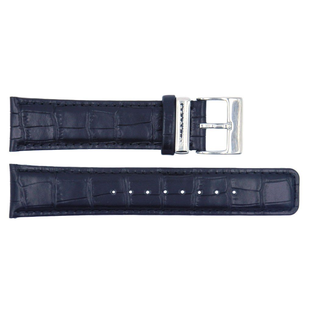 Kenneth Cole Reaction Genuine Leather Black Crocodile Grain 22mm Watch Strap