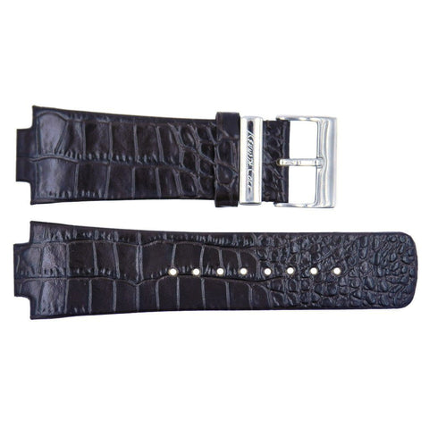 Kenneth Cole Black Crocodile Grain 29mm/16mm Leather Watch Band