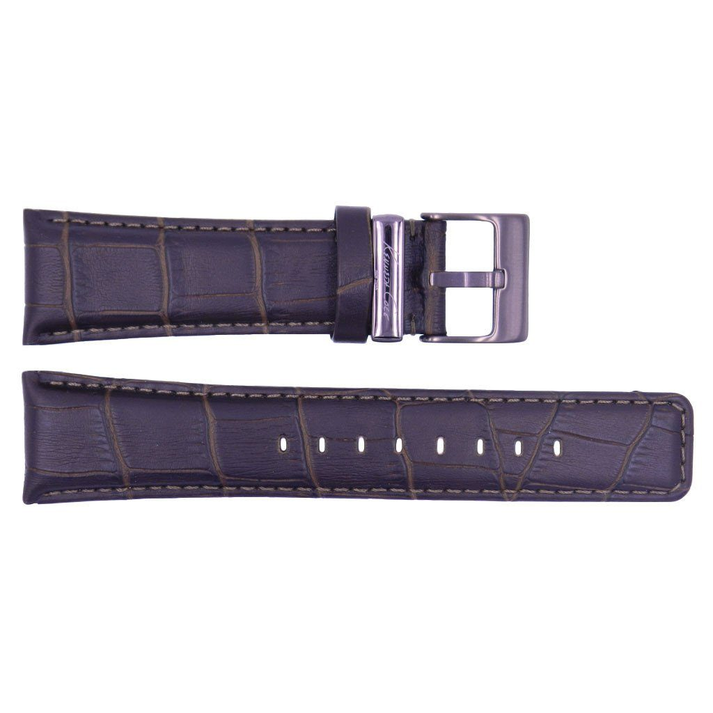 Kenneth Cole Genuine Leather Brown Crocodile Grain Square Tip 24mm Watch Strap