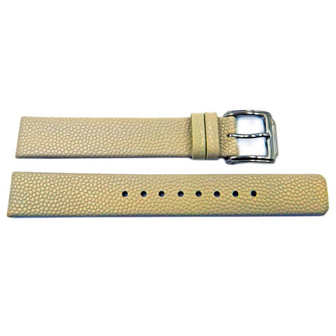 Kenneth Cole Beige Textured Leather Square Tip 15mm Watch Band