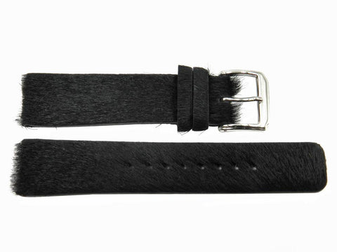 Genuine Kenneth Cole Faux Fur 20mm Black Leather Watch Band