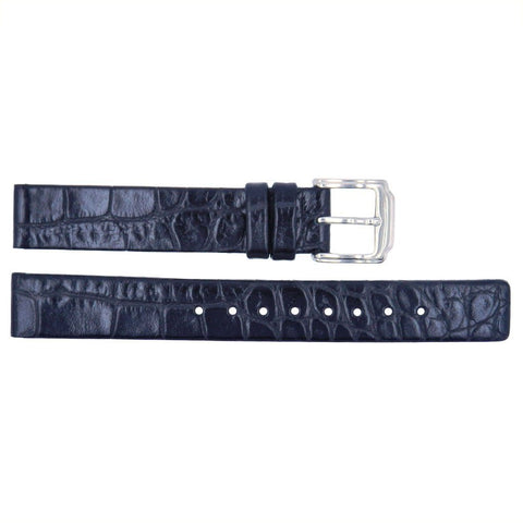 Kenneth Cole Black Crocodile Grain Leather 14mm Watch Band