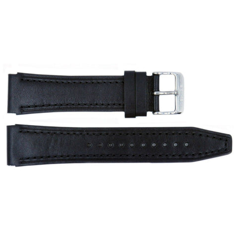 Genuine Seiko Black Smooth Leather 24mm/20mm Watch Band