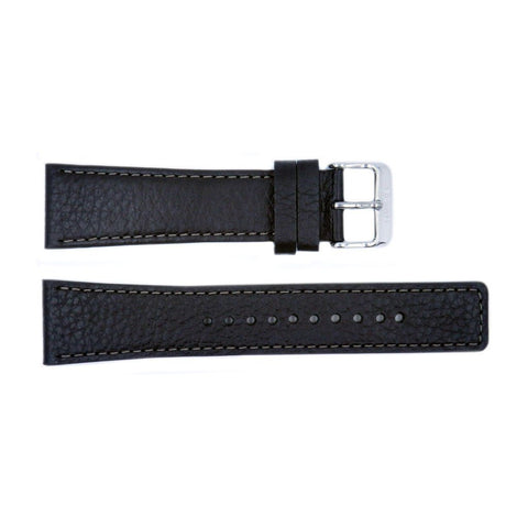 Genuine Seiko Black Textured Leather 24mm Watch Band