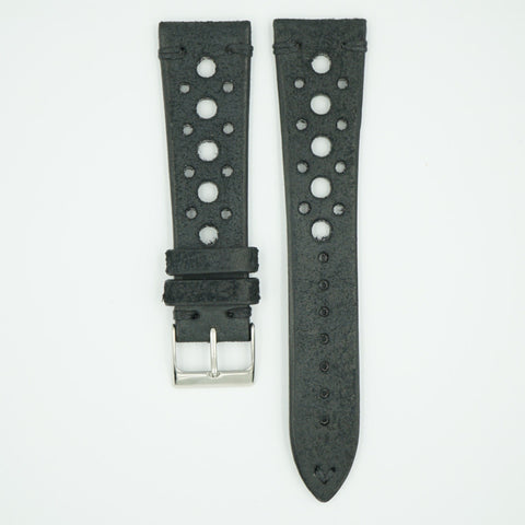 Black Vintage Racing Leather Watch Strap