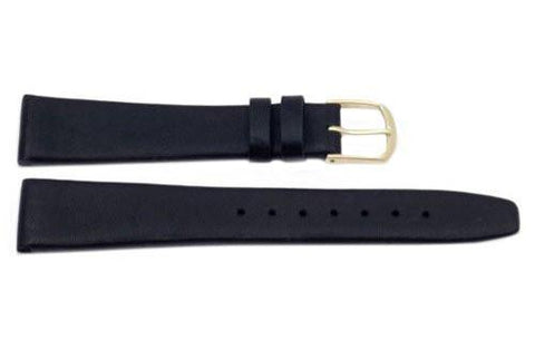 Genuine Elegant Soft Leather Dark Black Watch Strap