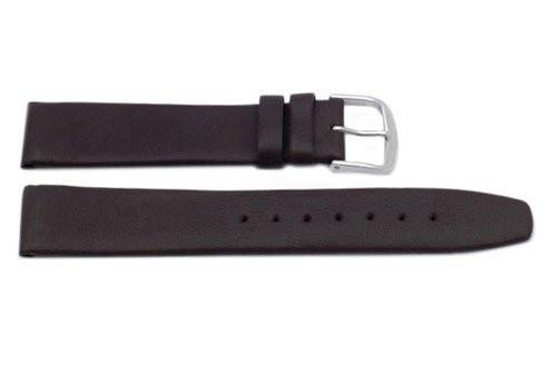 Genuine Elegant Soft Smooth Leather Dark Brown Watch Strap