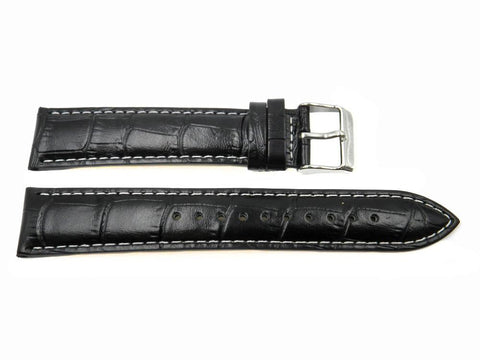 Genuine Seiko Alligator Grain Leather Black 20mm Watch Strap