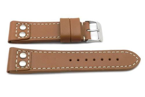 Genuine Leather Pilot Style Heavy Padded White Contrast Stitching Watch Band image
