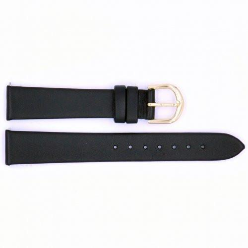 Genuine Timex Black Calfskin Smooth Leather 16mm Watch Strap