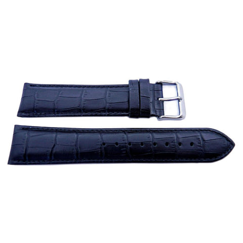 Genuine Leather Alligator Grain Padded Long Watch Strap