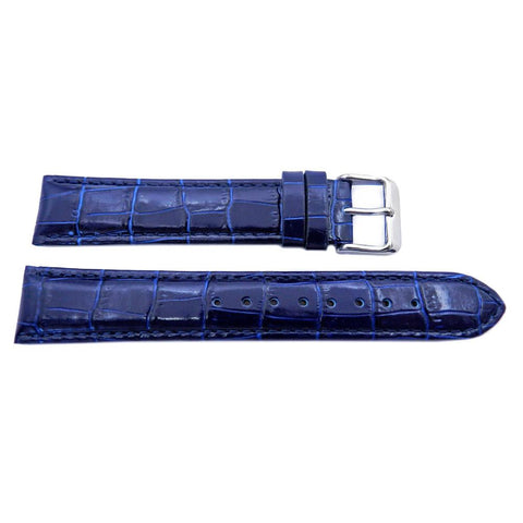Genuine Leather Semi Gloss Alligator Grain Blue Long Watch Strap
