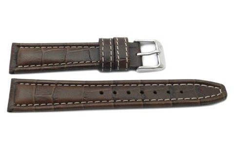 Genuine Italian Leather Textured White Contrast Stitching Watch Band
