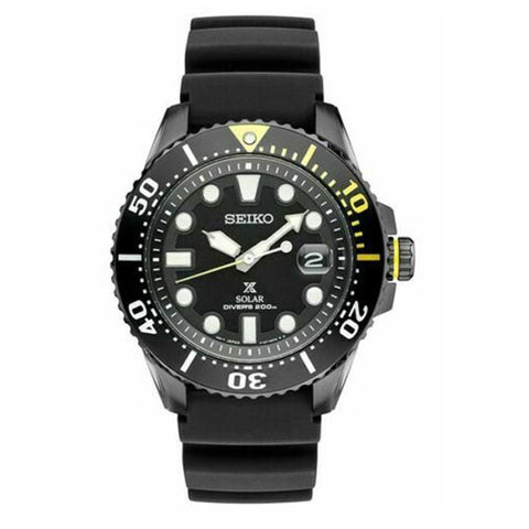 Men's Prospex Solar Diver's Black Stainless Steel Watch SNE441