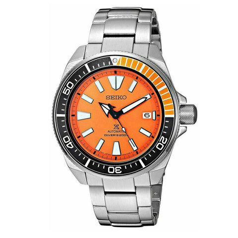 Seiko Automatic Prospex Samurai Divers Orange Dial Men's Steel Watch SRPC07