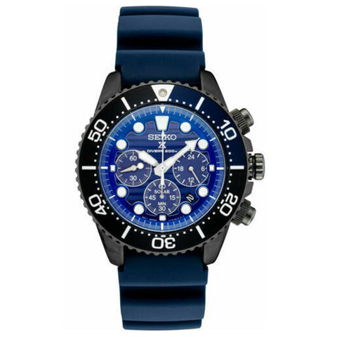 Mens Seiko SSC701 Solar Special Edition Blue Solar Powered Diver's Watch