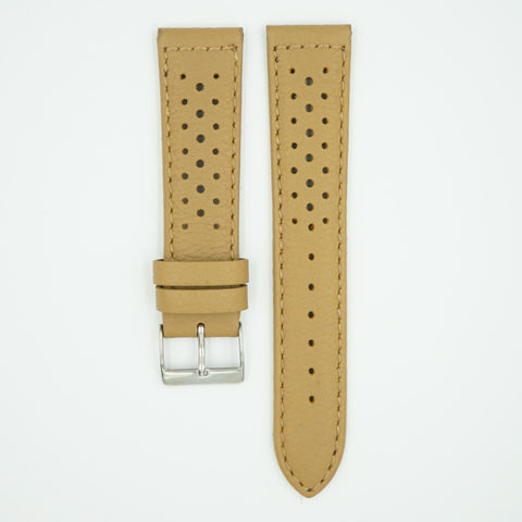 Racing Perforated Peanut Leather Watch Strap