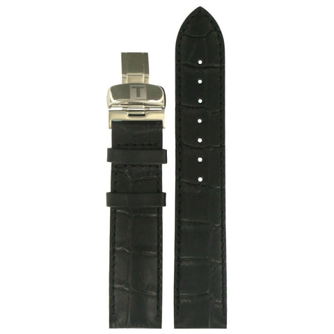 TISSOT 19MM ALLIGATOR EMBOSSED BLACK LEATHER STRAP