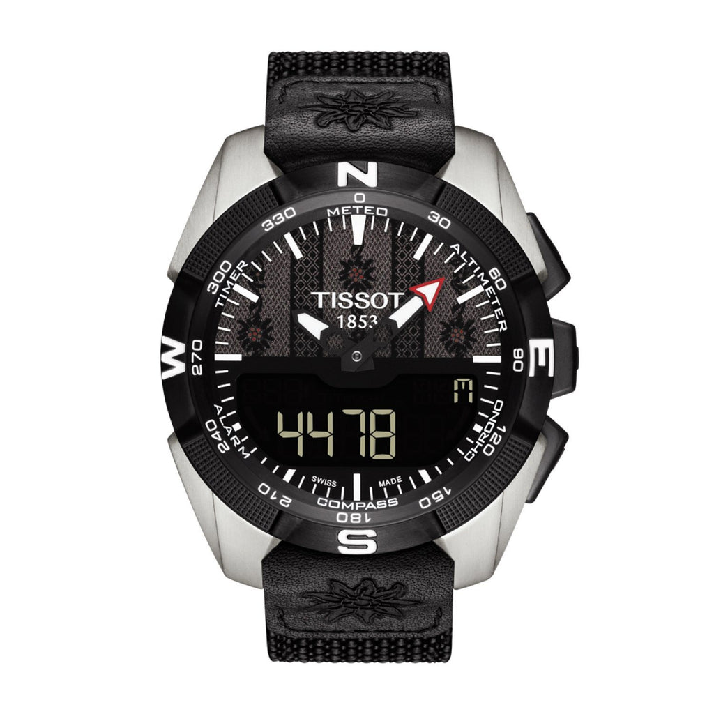 Tissot 22mm T-Touch Solar Black Textile Over Leather Strap image