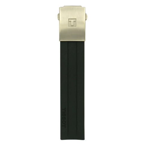 Tissot Men's Black Rubber Strap Titanium GMT Watch Strap