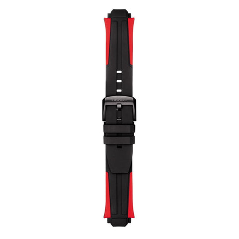 TISSOT T-RACE CYCLING BLACK/RED SILICONE WATCH STRAP
