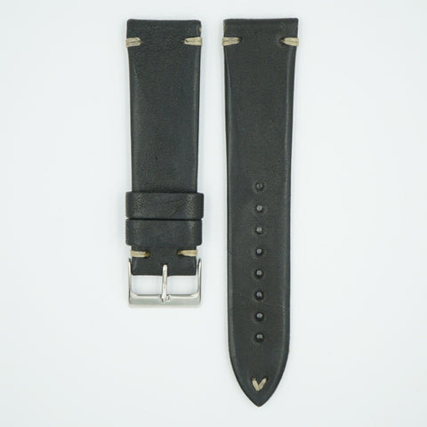 Aged Vintage Italian Black Leather Watch Strap