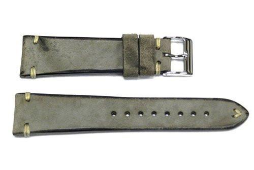 Vintage Handmade Stitched Charcoal Leather Watch Band