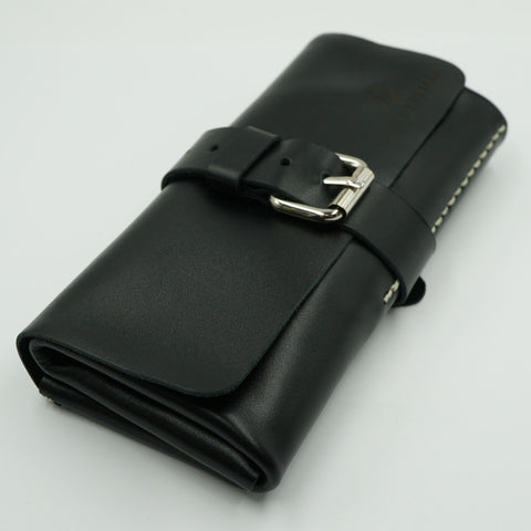 Black Leather Watch Roll for 3 watches