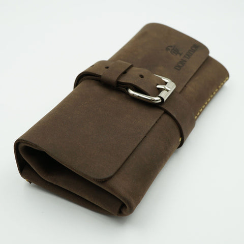 Brown Leather Watch Roll for 3 watches
