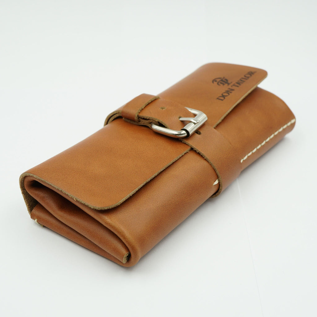 Tan Leather Watch Roll for 3 watches