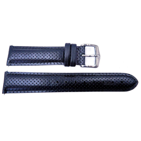 Genuine Wenger Alpine Field Black Perforated Leather 20mm Watch Strap