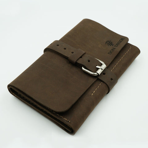 Brown Leather Wide Watch Roll for 3 watches