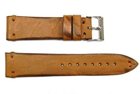 Vintage Handmade Stitched Light Brown Leather Watch Band