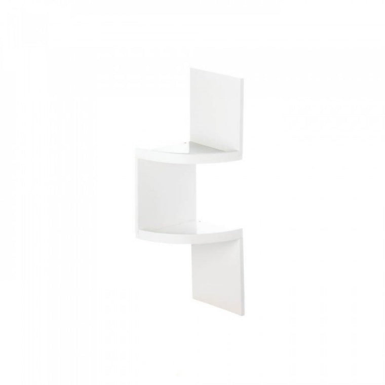 2-tier White Corner Shelf