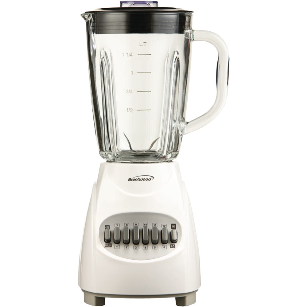 Brentwood 12-speed Blender With Glass Jar (white)