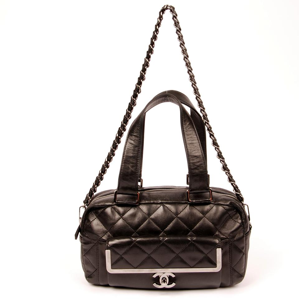 Chanel 2way Black Lambskin Leather Shoulder Bag 6177 (Authentic Pre-owned)