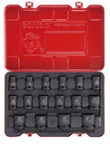 "1/2"" Dr. 16 PC Impact Socket Set, Metric"