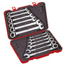 12 PC Reversible Ratchet Spherical Combination Wrench Set, Metric